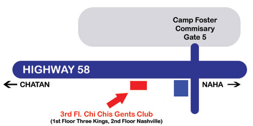 Map to Chi Chis Gentlemen's Club Okinawa